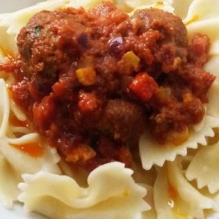 Pasta and meatball tomato sauce